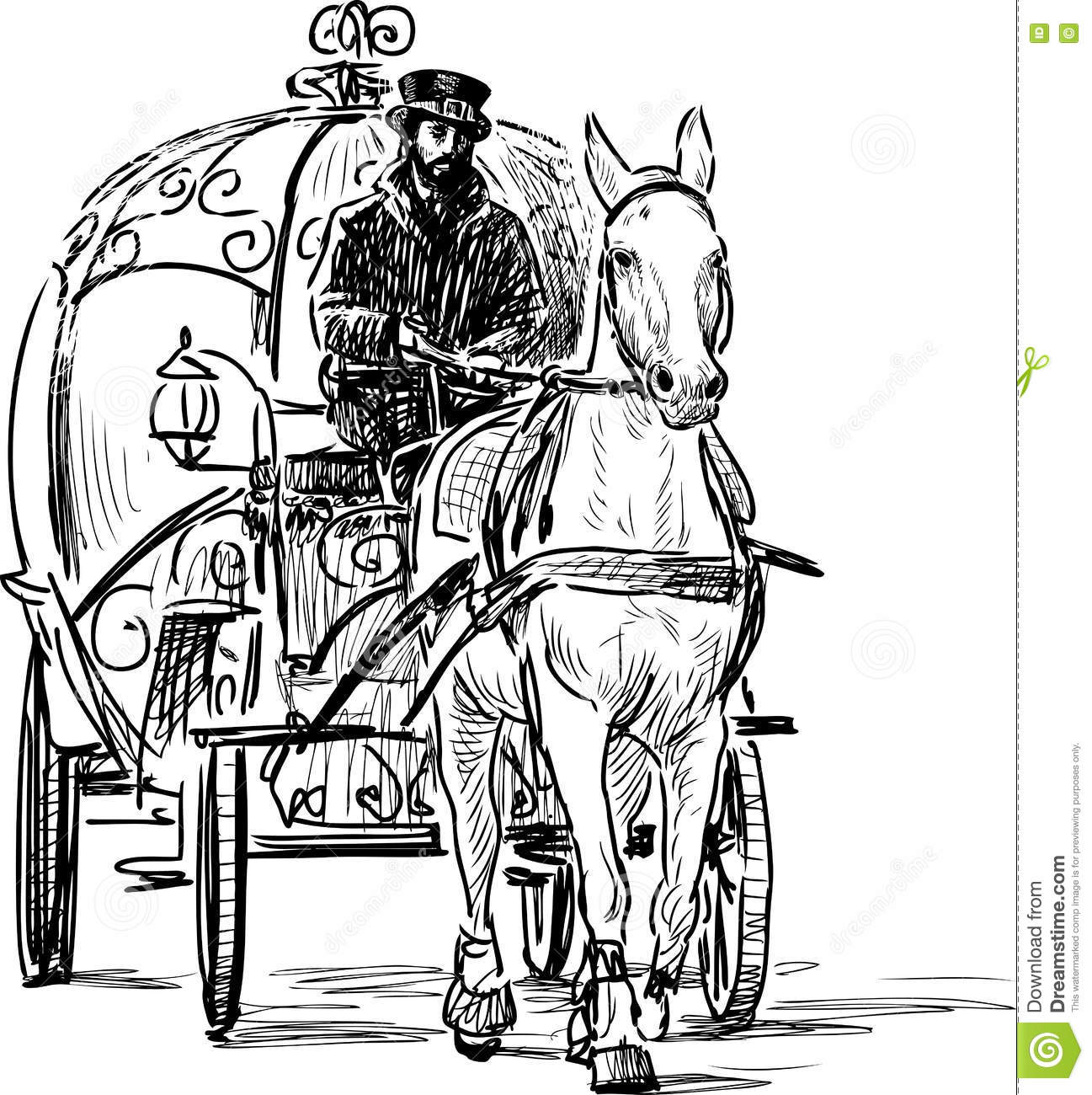 Vintage Horse Carriage Stock Vector Illustration Of Riding