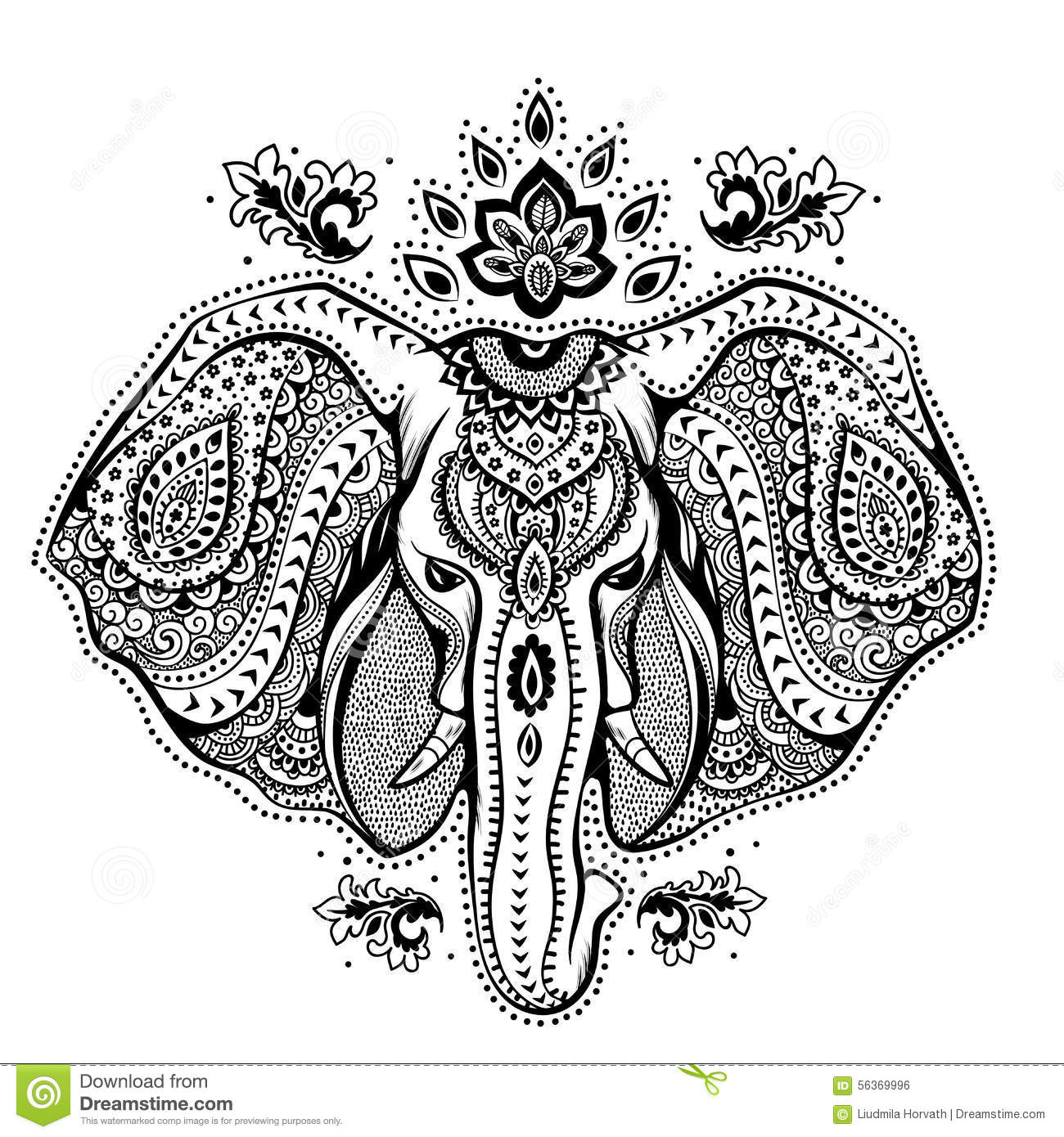 Vintage Indian Elephant With Tribal Ornaments Stock Vector