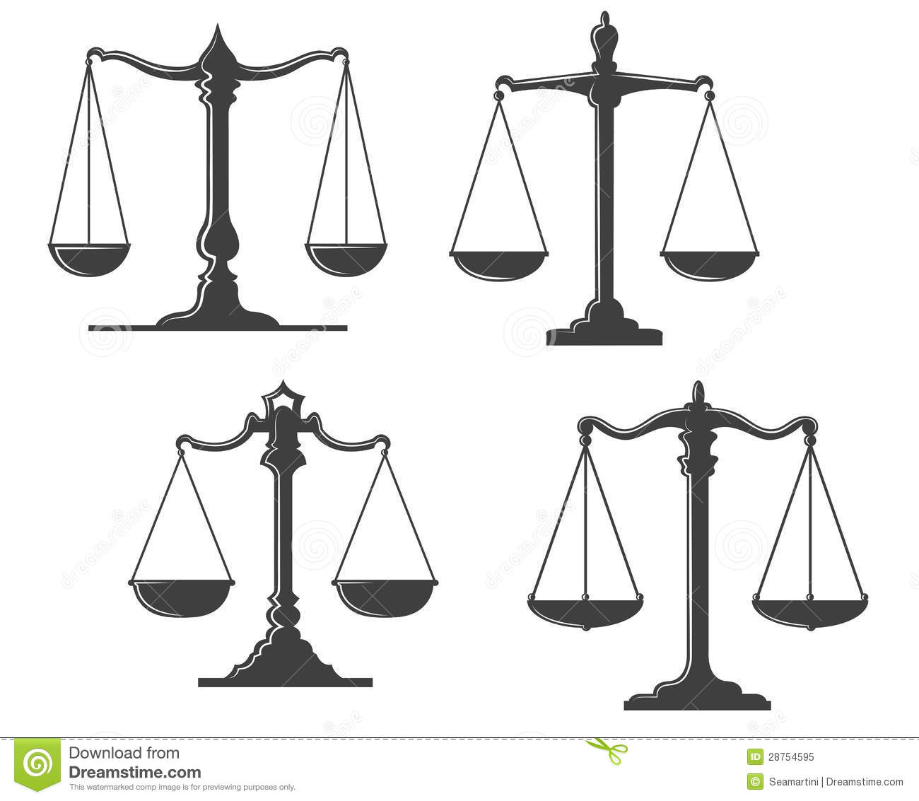 Vintage Justice Scales Stock Vector Illustration Of Case