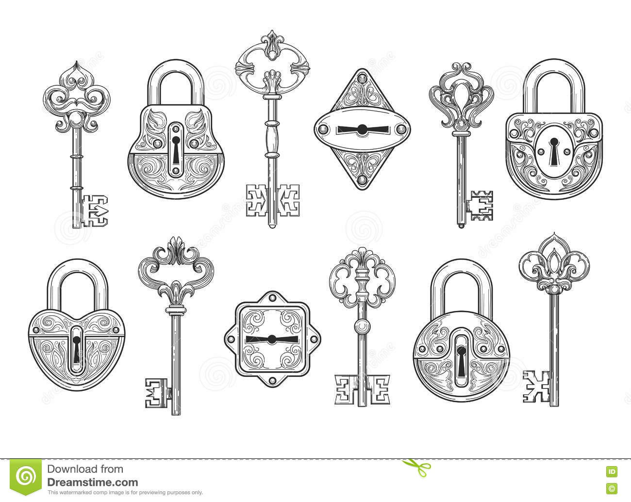 Vintage Lock Coloring Pages