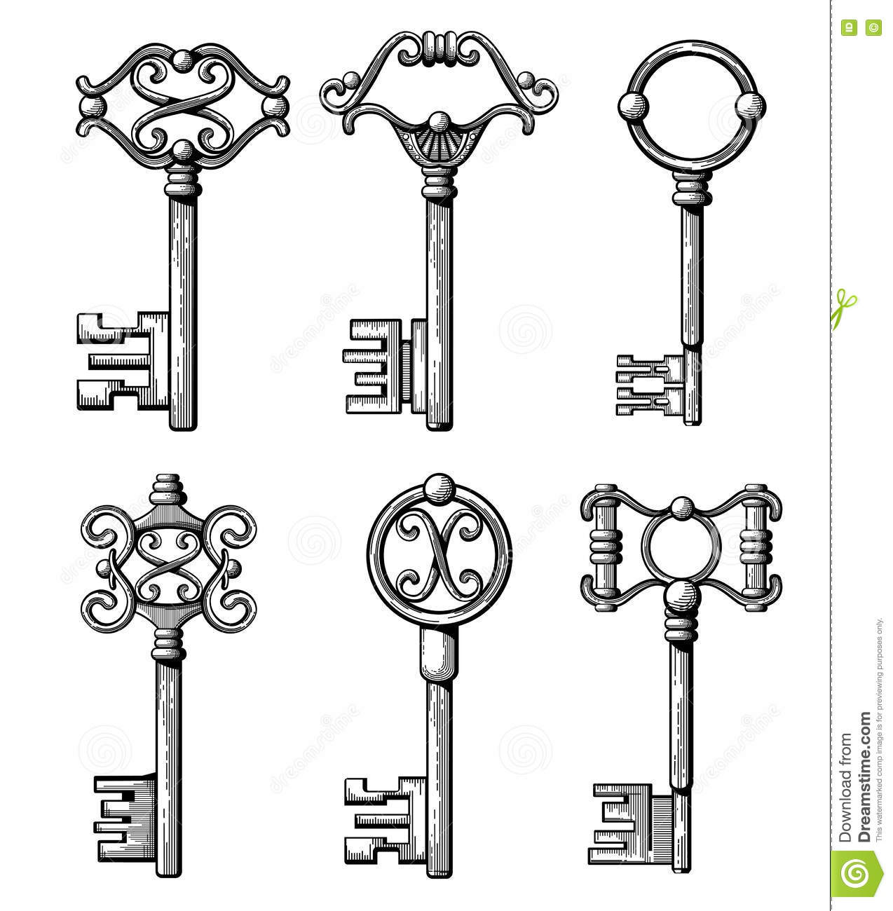 Vintage Me Val Keys Antique Chaves Vector Illustration