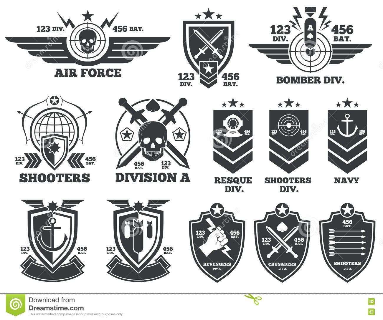Vintage Military Vector Labels And Patches Stock Vector