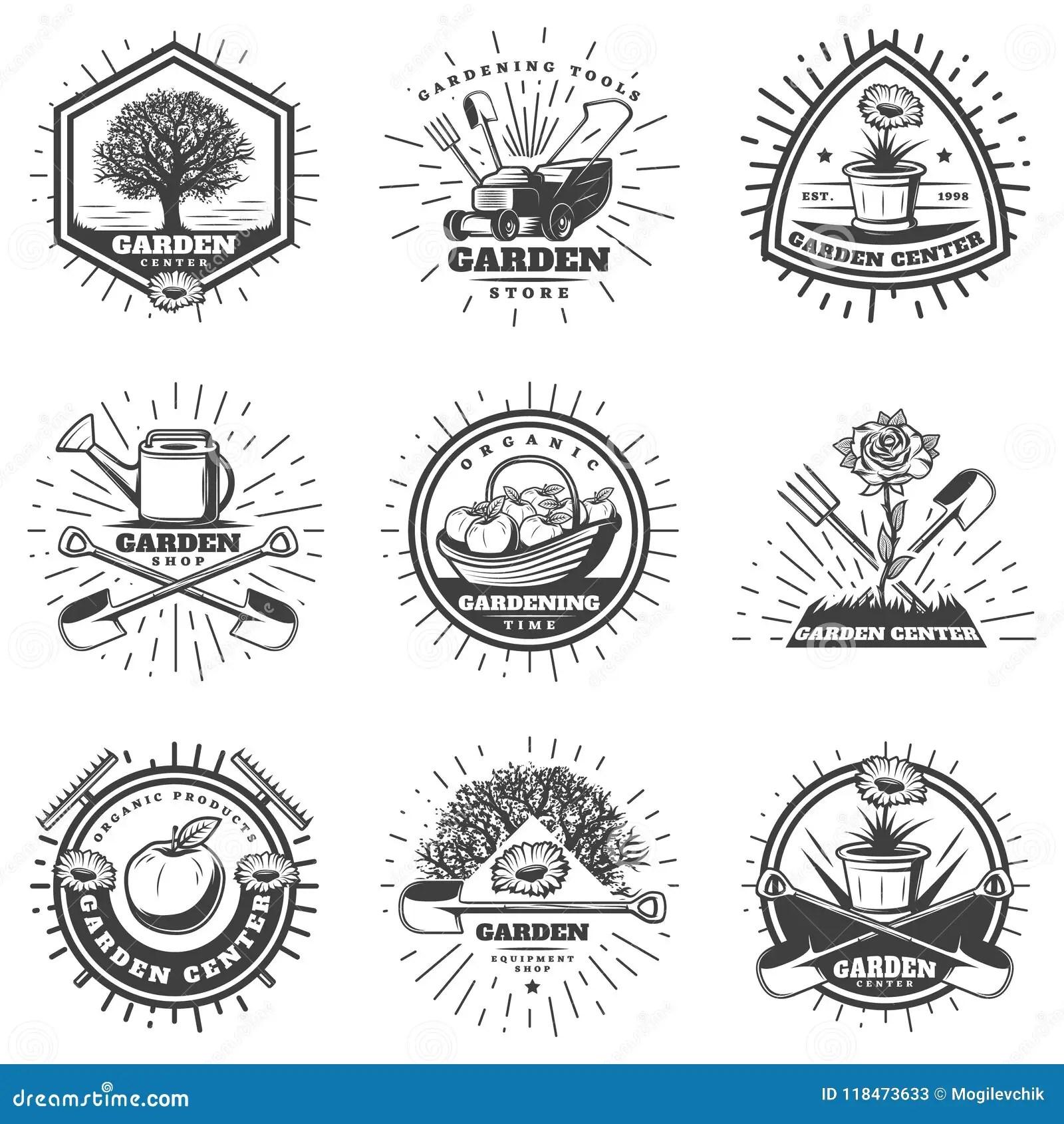Vintage Monochrome Gardening Logos Set Stock Vector
