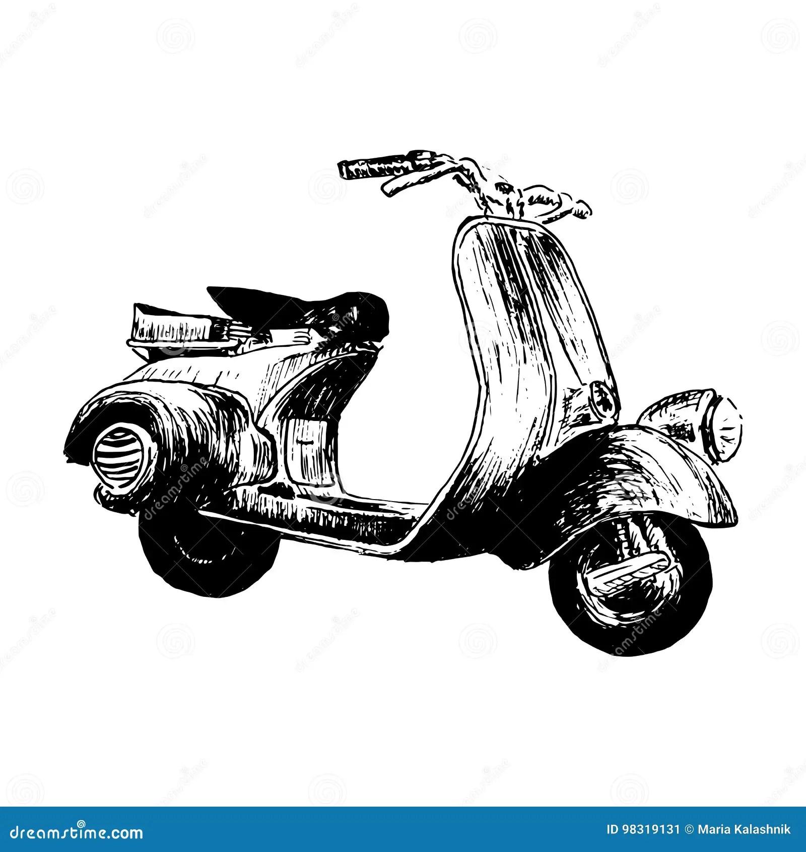 Vintage Motor Scooter Vector Illustration Hand Graphics