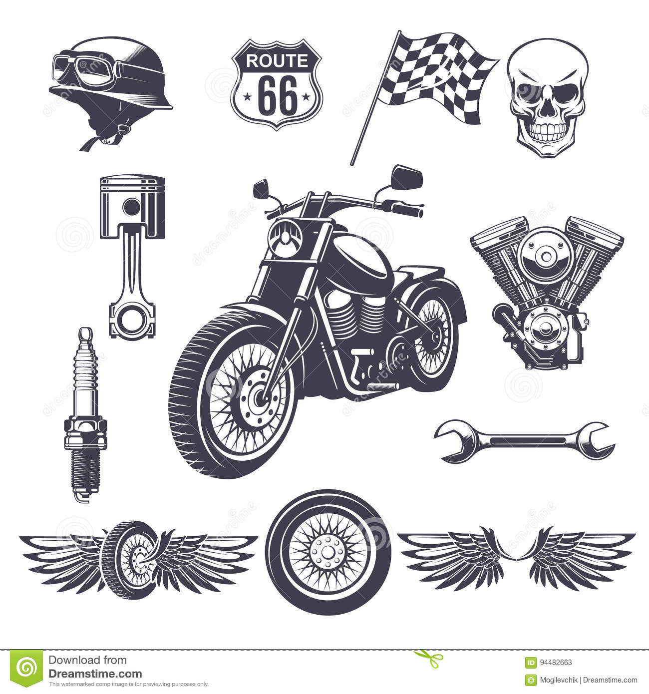Vintage Motorcycle Elements Collection Stock Vector
