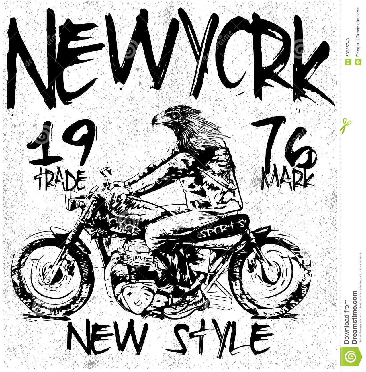 Vintage Motorcycle T Shirt Graphic Stock Vector
