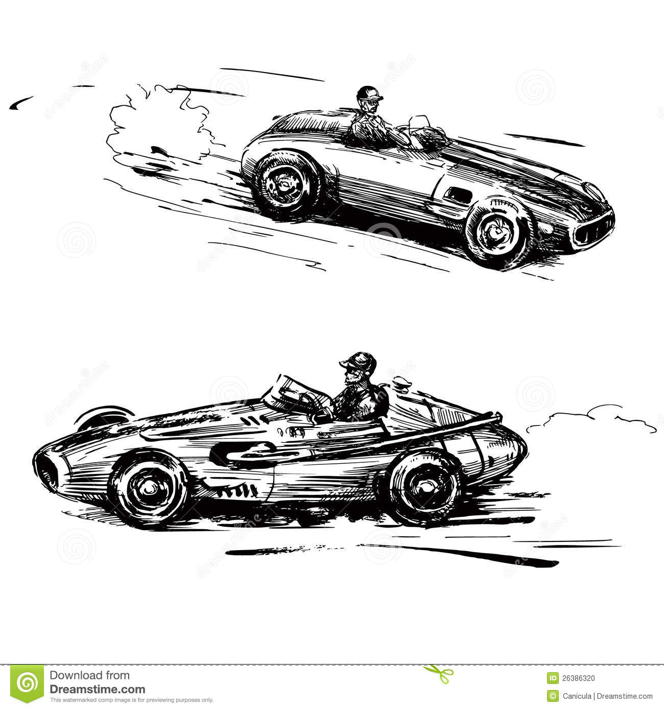 Vintage Racing Cars Stock Vector Illustration Of Race