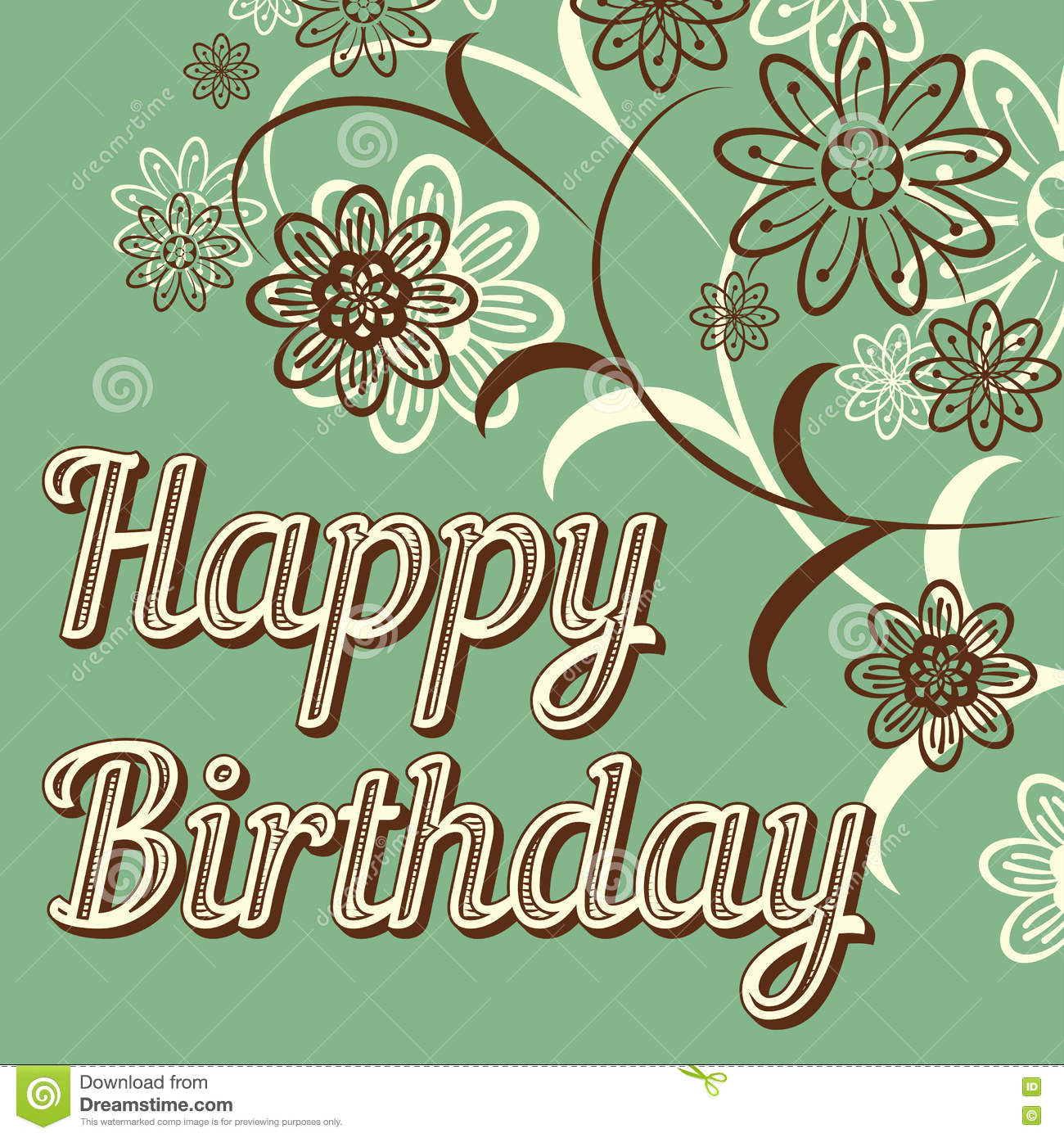 Vintage Retro Happy Birthday Card With Fonts Grunge