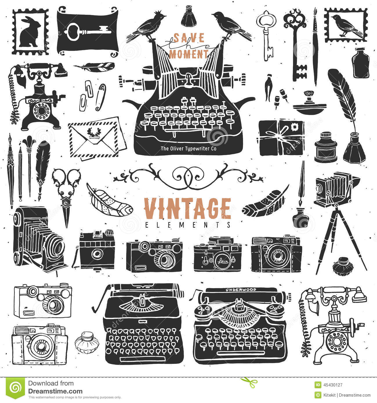 Vintage Retro Old Things Collection Stock Vector