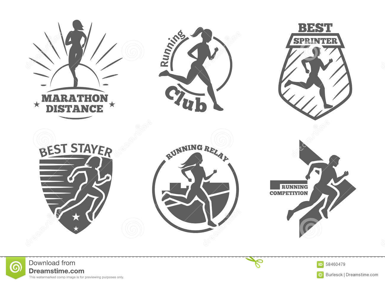 Vintage Running Club Vector Labels And Emblems Stock
