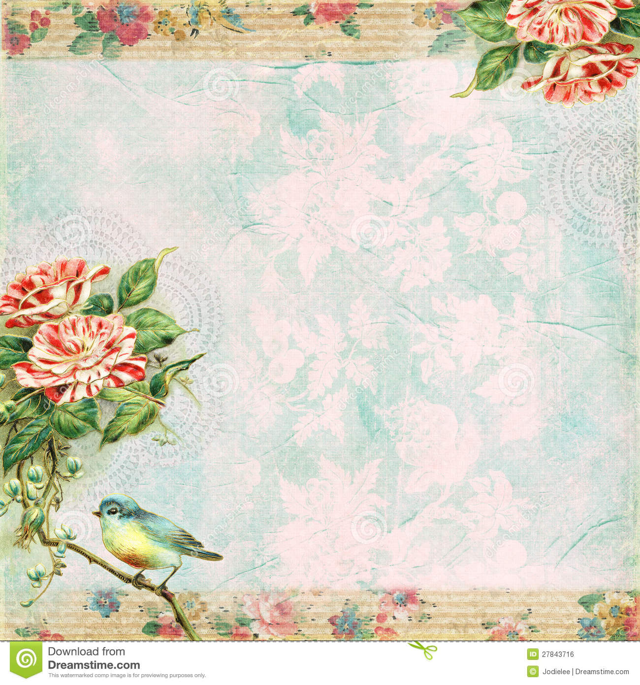 Vintage Shabby Bird And Rose Background Royalty Free Stock