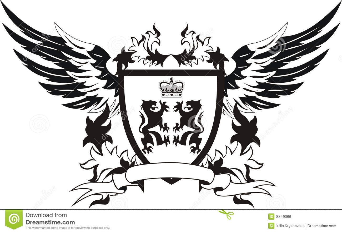 Vintage Shield With Wings And Lions Stock Vector