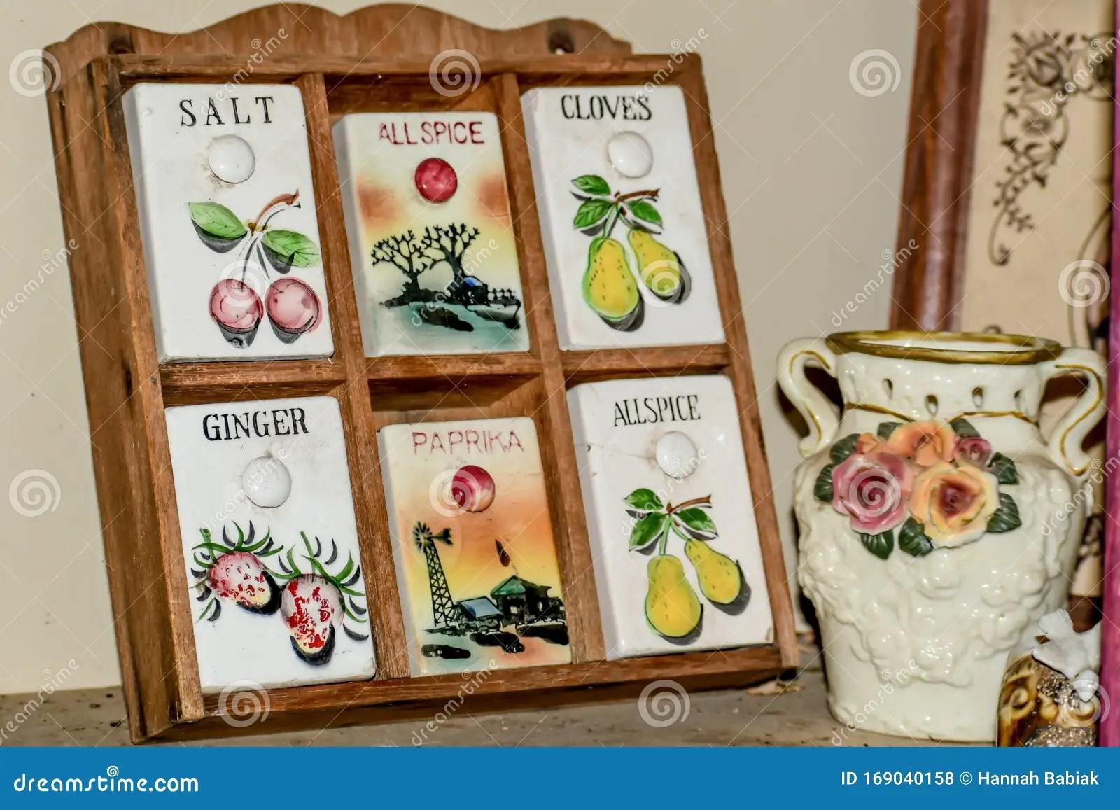 https www dreamstime com vintage spice rack floral vase wooden ceramic doors salt allspice cloves ginger paprika image169040158