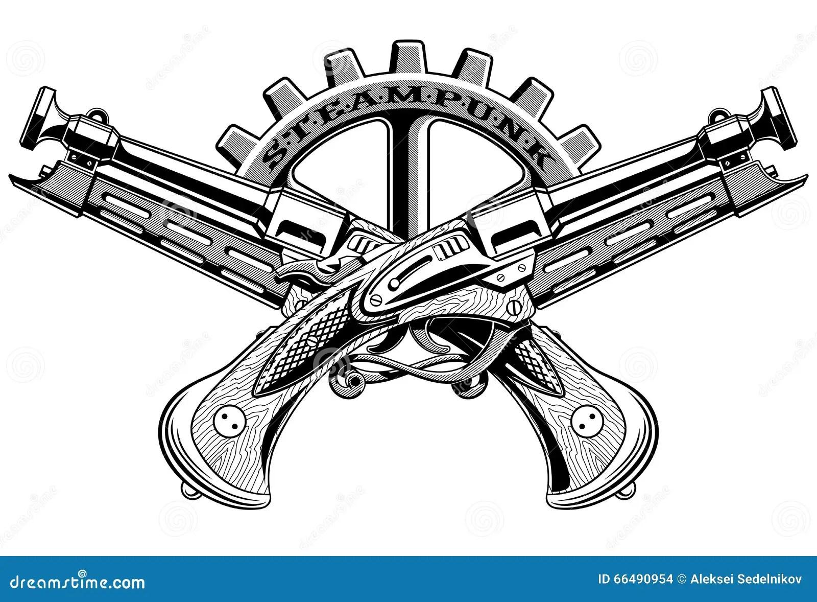 Vintage Steampunk Guns Vector Illustration Stock Vector