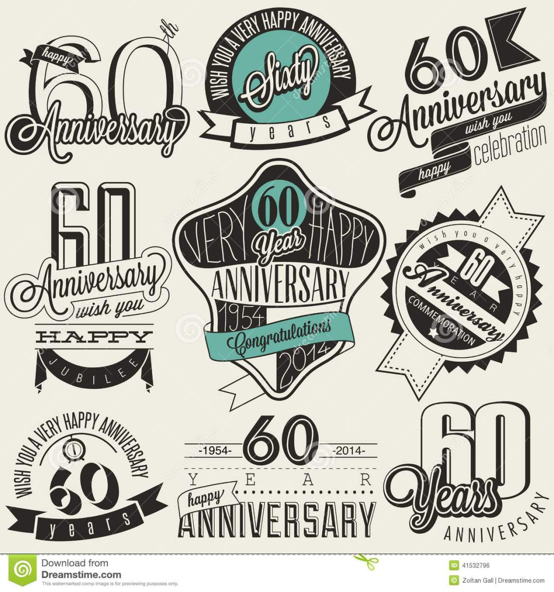 Download Vintage Style 60th Anniversary Collection. Stock Vector ...