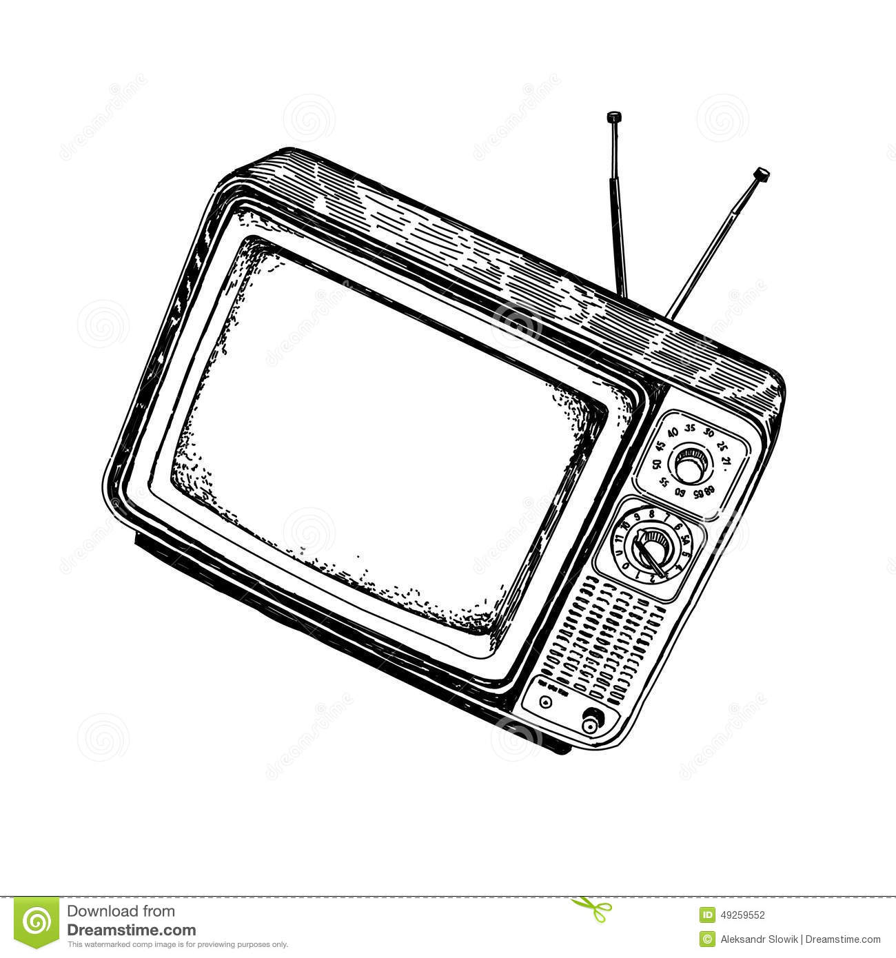 Vintage Television With Antennas Off Drawing Stock Vector