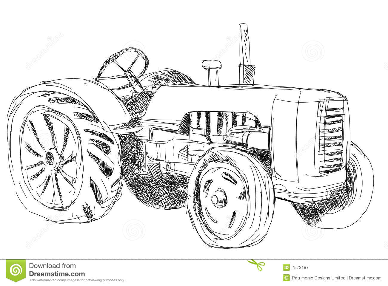 Vintage Tractor Stock Illustration Illustration Of Sketch