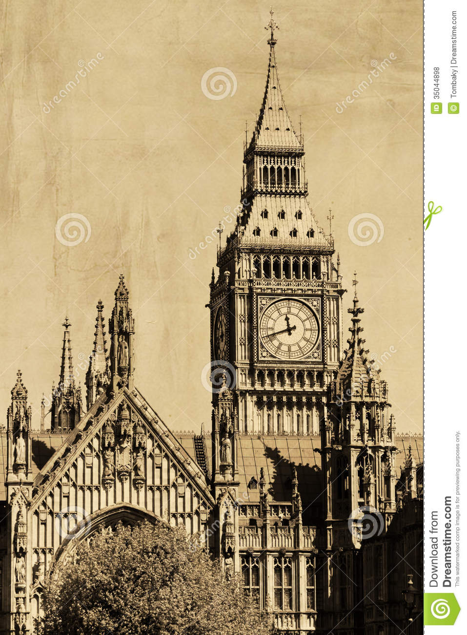 Vintage View Of London Big Ben Royalty Free Stock Photos