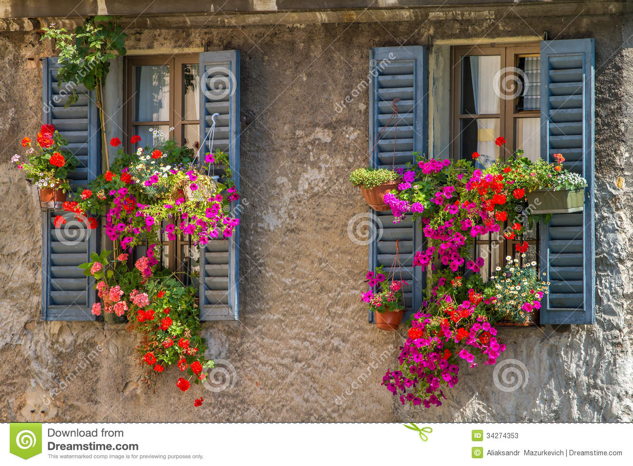 Vintage Windows With Fresh Flowers Stock Photos Image 34274353