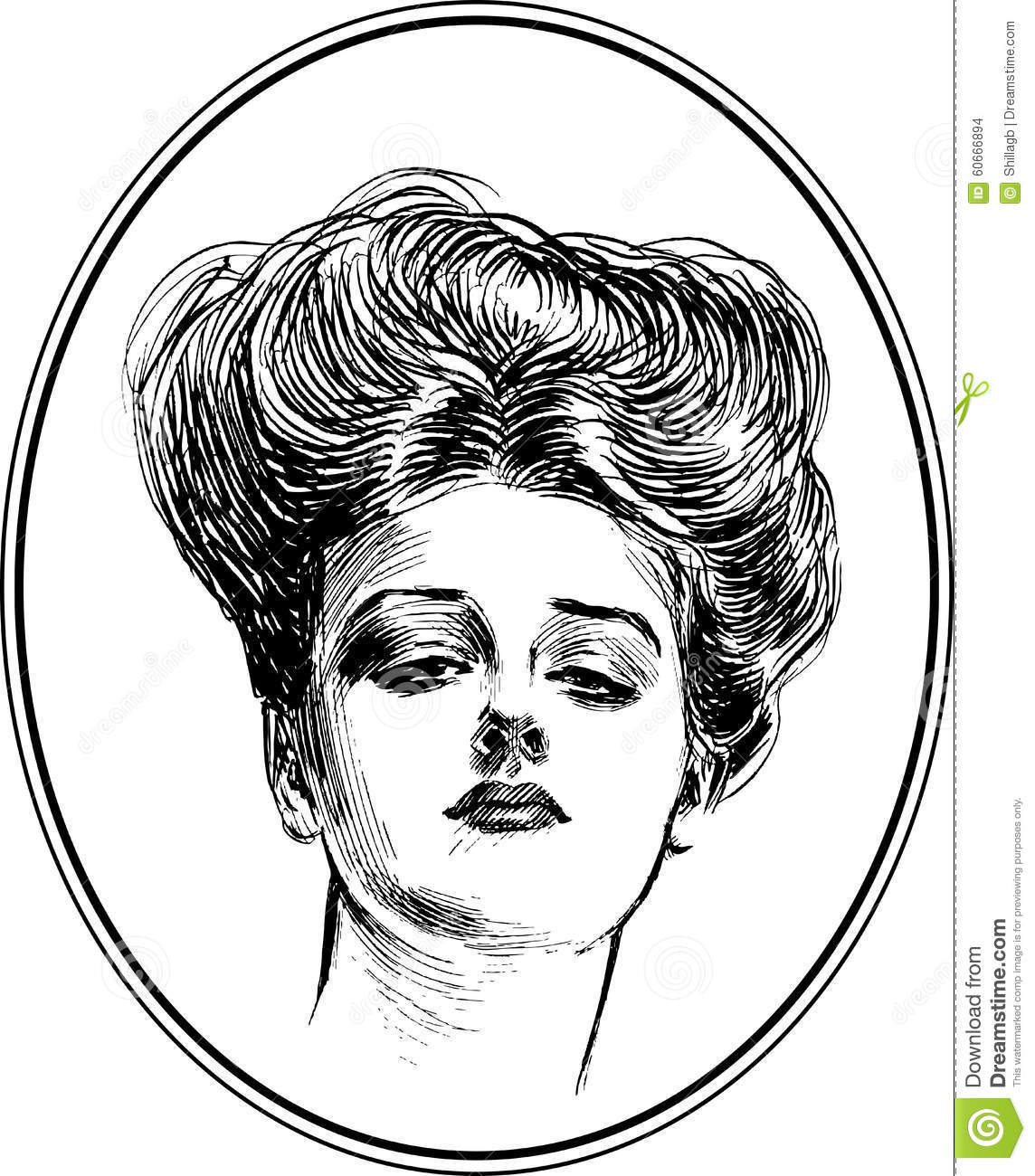Vintage Woman Portrait Collection 4 Stock Vector