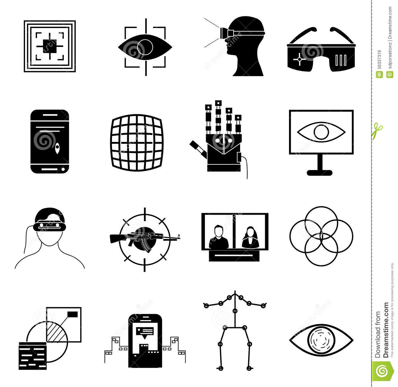 Virtual Reality Icons Set Stock Vector Illustration Of
