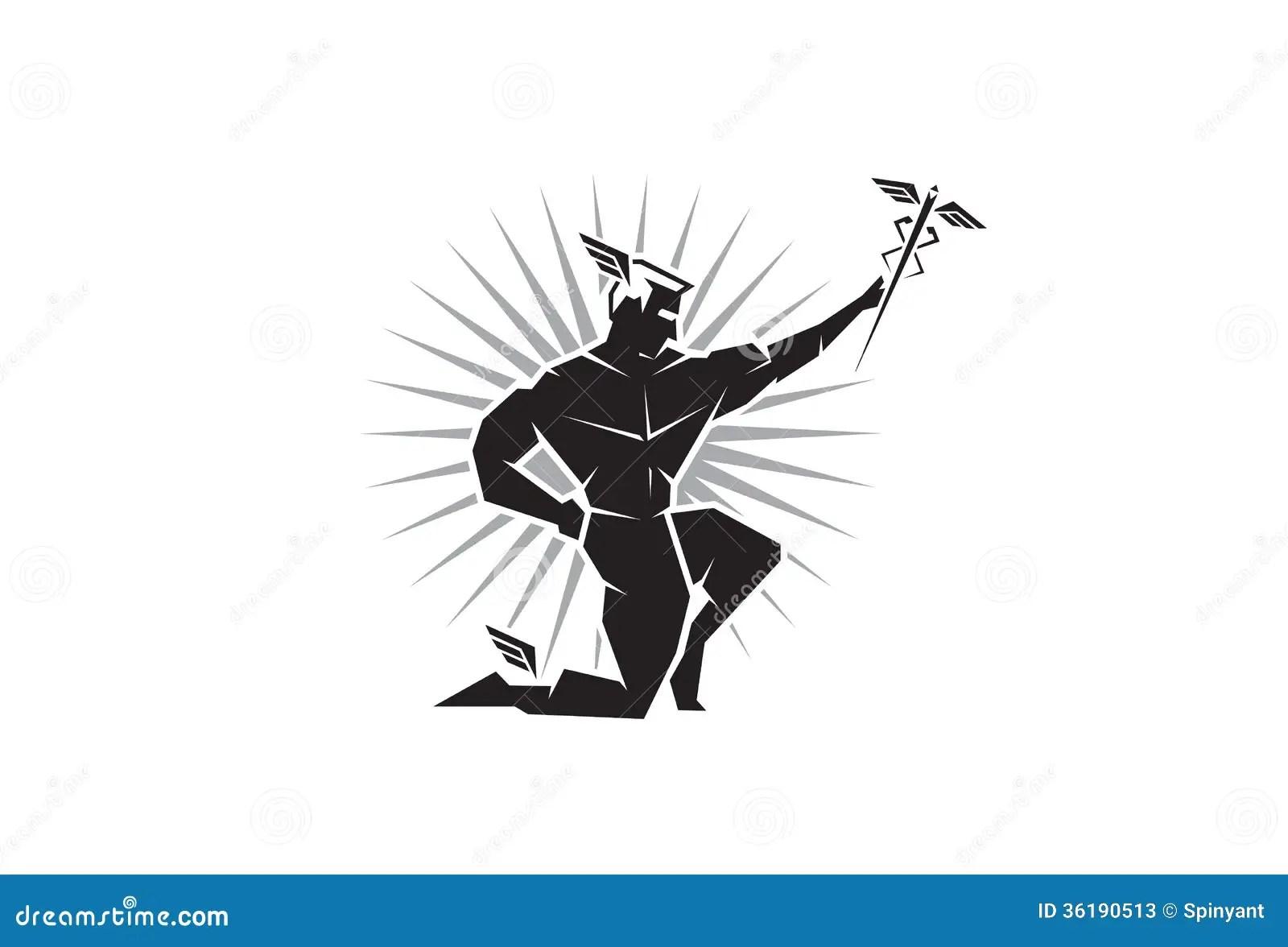 Vista Delantera De Dios Griego Hermes Ilustracion Del