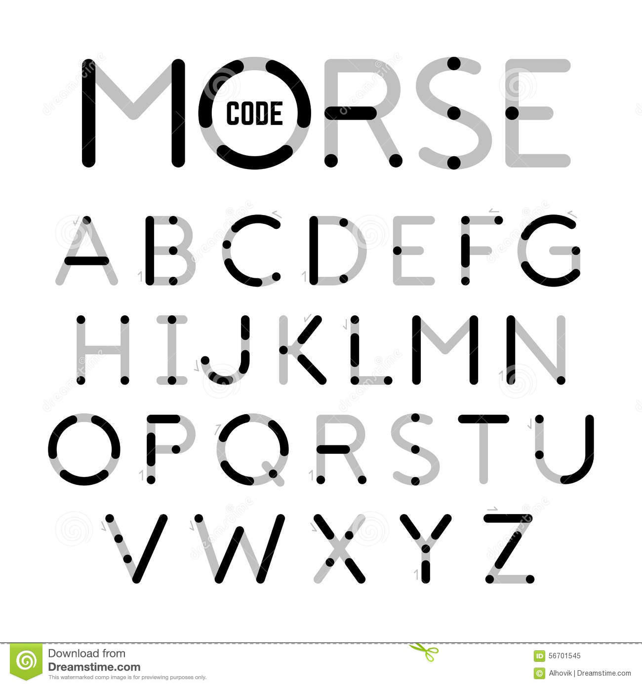 Visual Guide Learning Morse Code Stock Vector