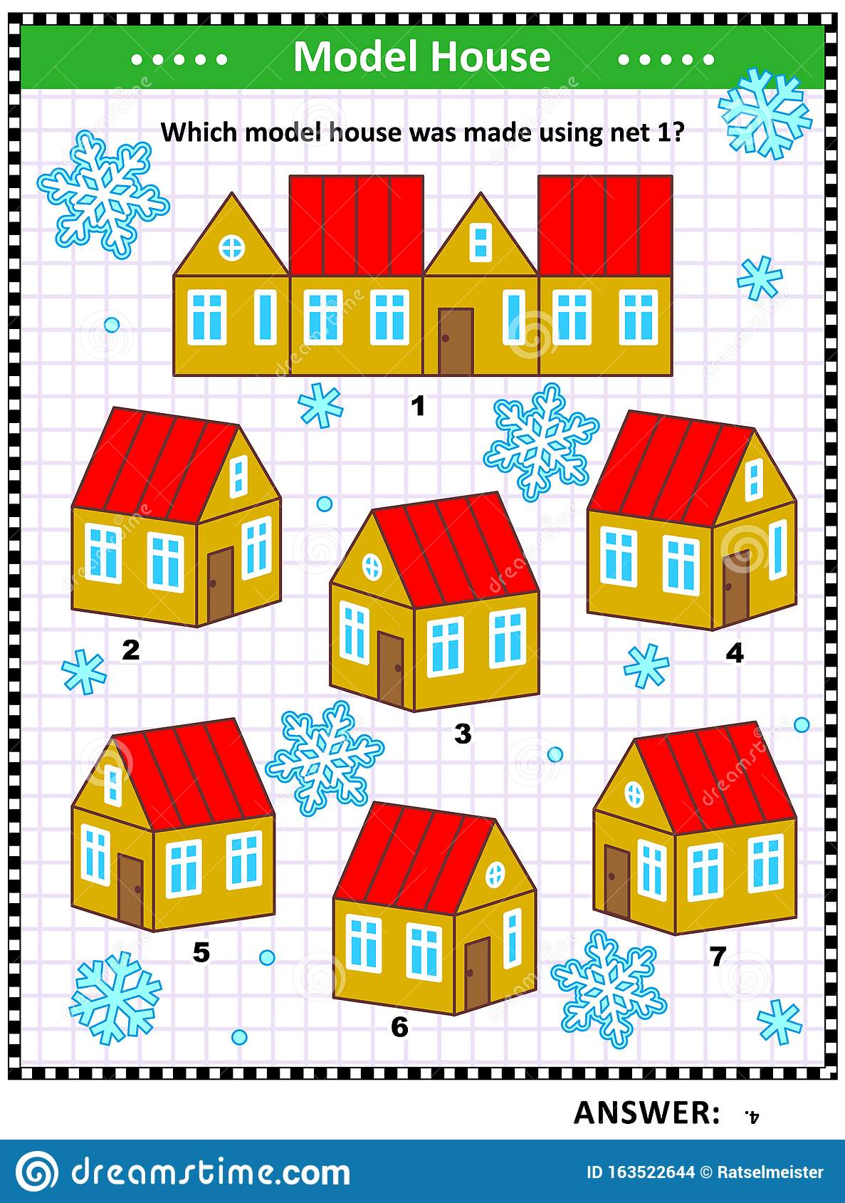 Visual Math Puzzle With Model Houses Stock Vector