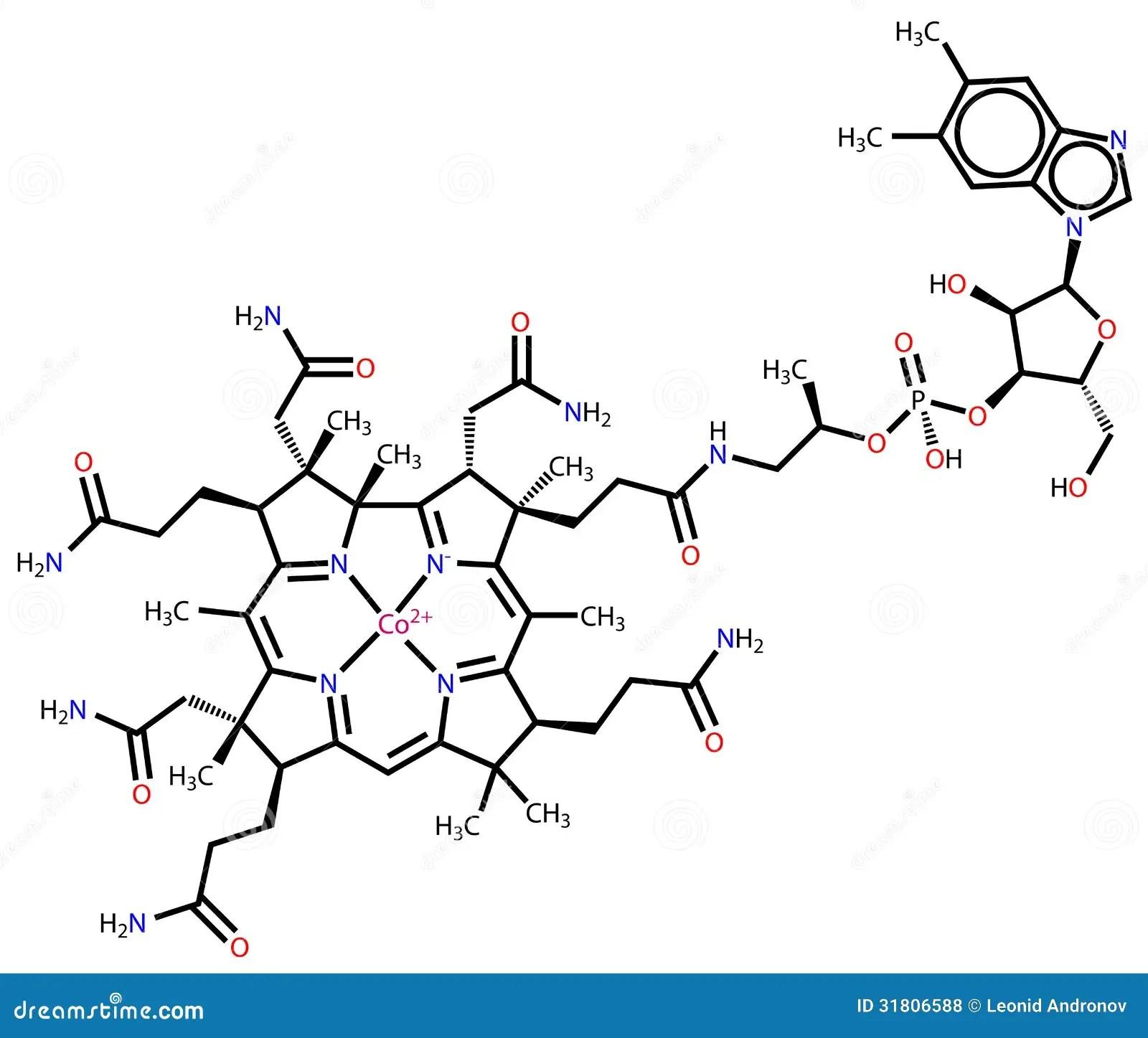 Vitamin B12 Structural Formula Stock Illustration