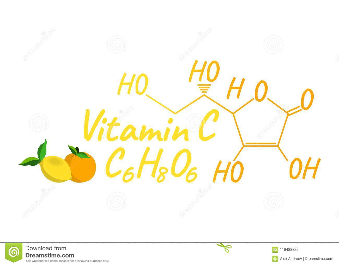 Vitamin C With Food Label And Icon Chemical Formula And