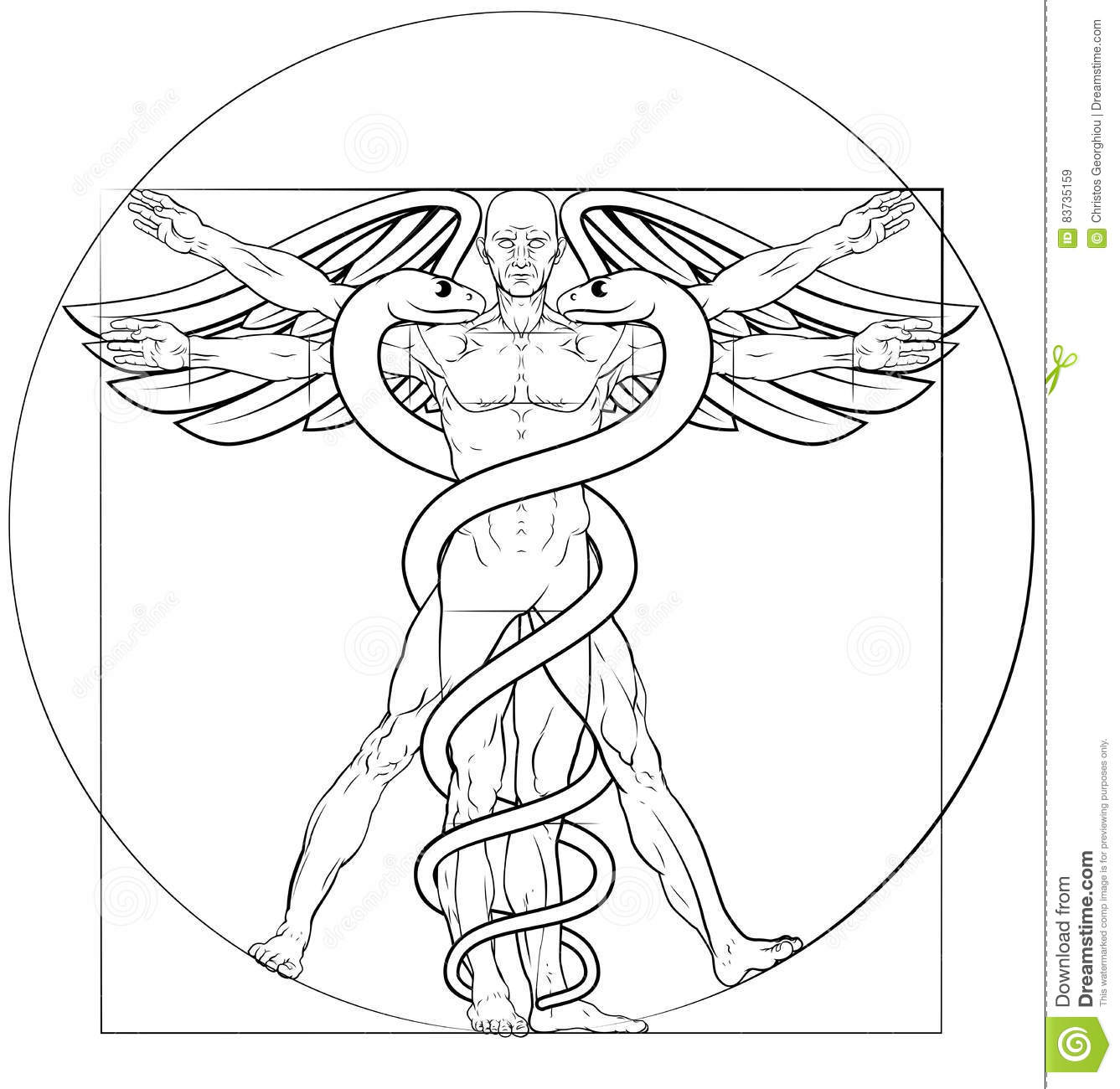 Vitruvian Man With Dna Royalty Free Stock Photo