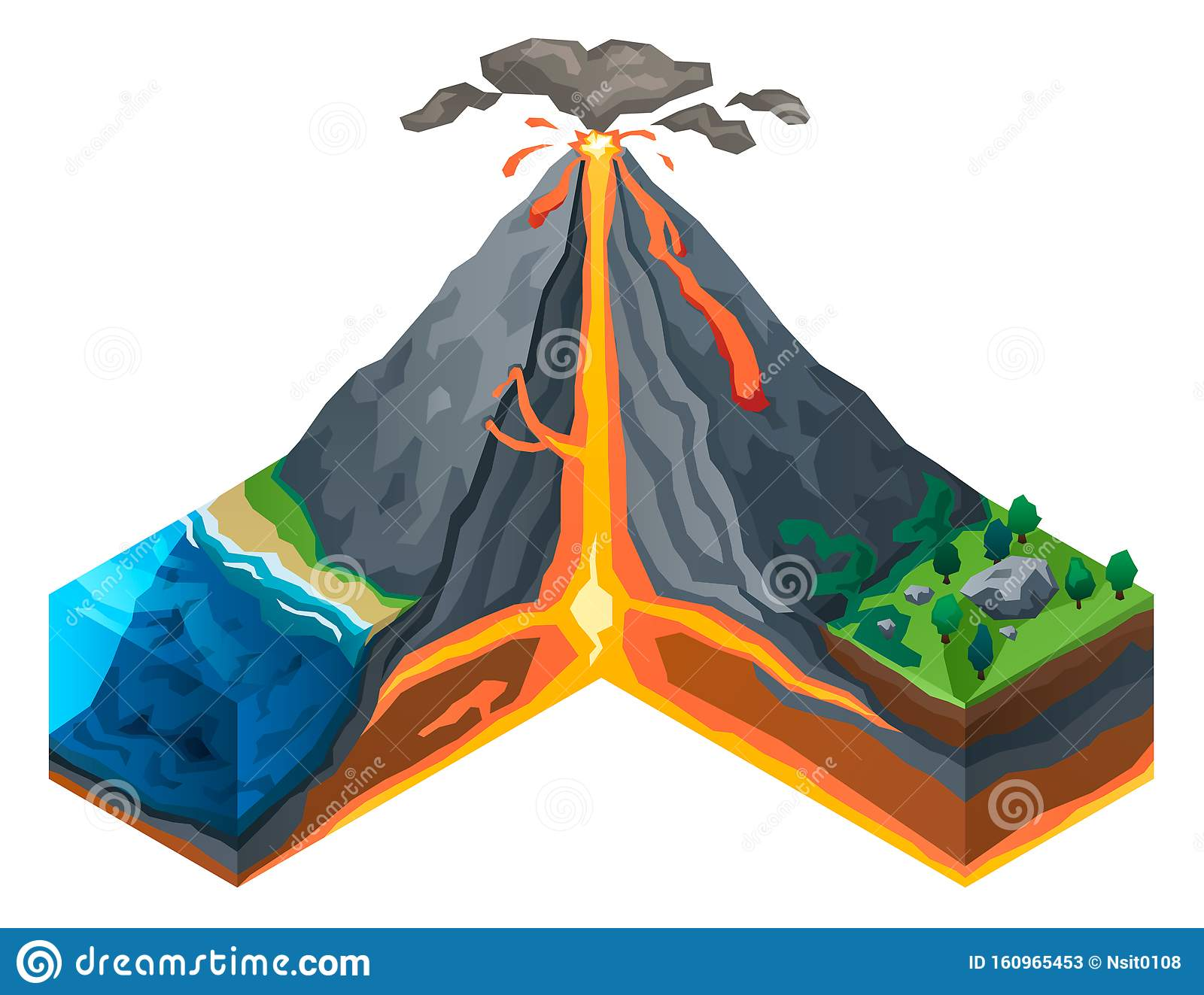 Volcano Structure Concept Banner Isometric Style Stock