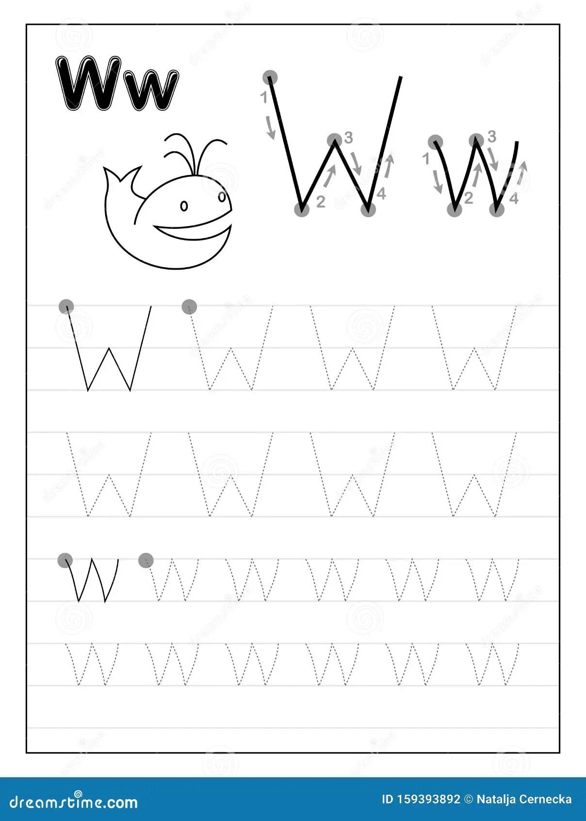 Volgalfabet Letter W Zwart Witte Trainingspagina S Online