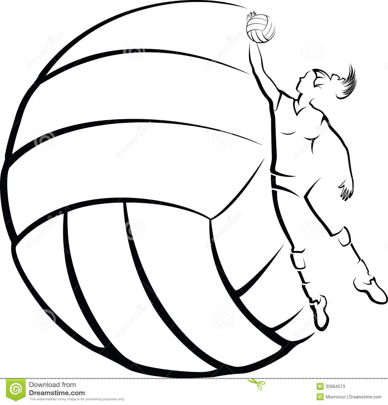 Volleyball Player With Volleyball Background Stock Photos