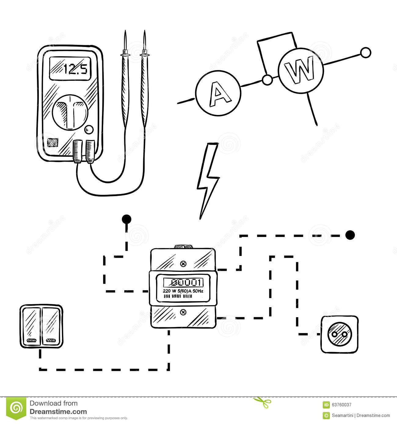 Voltmeter Electricity Meter And Electrical Circuit Sketch