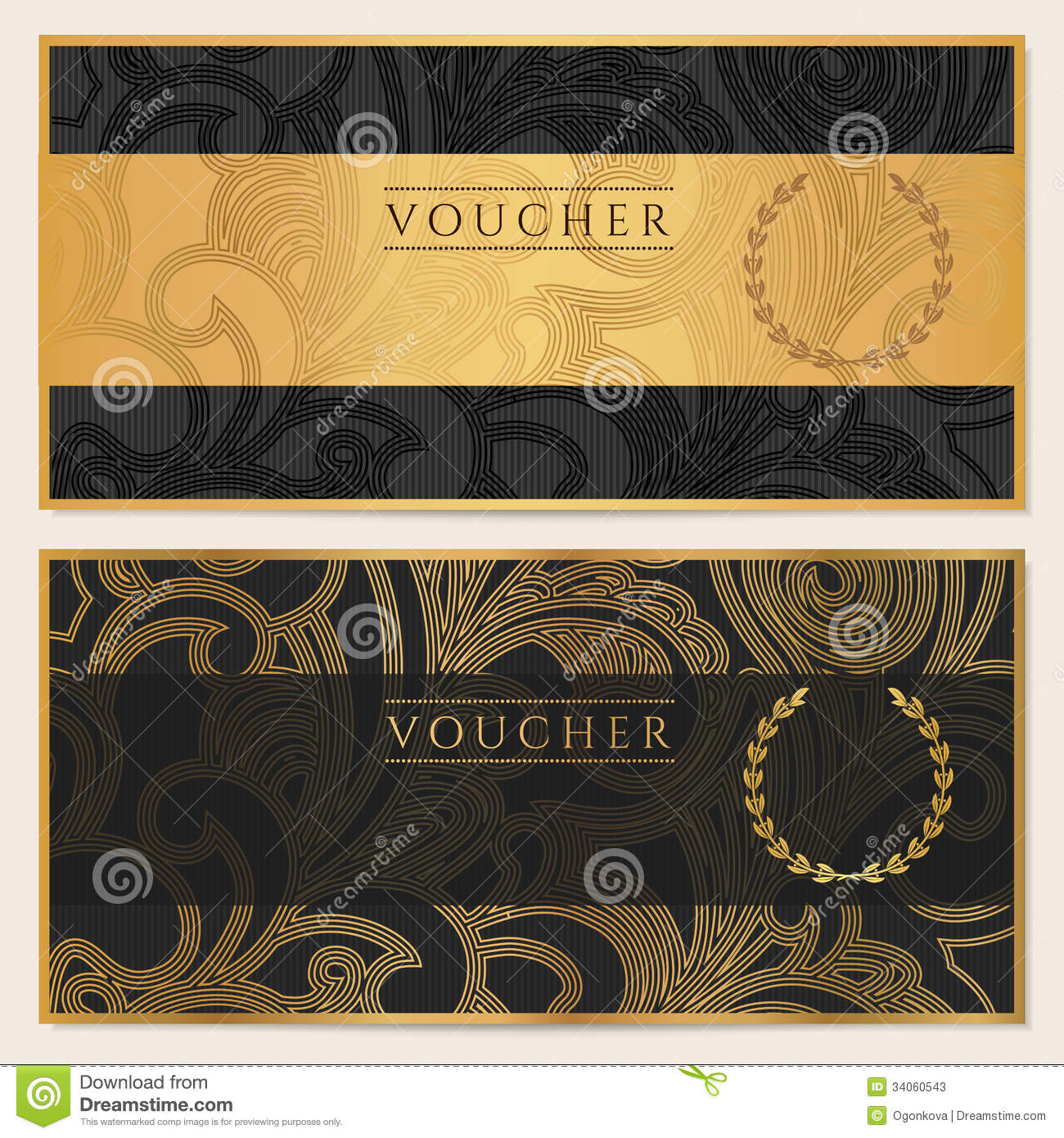 Voucher Gift Certificate Coupon Ticket Pattern Stock Photos Image 34060543