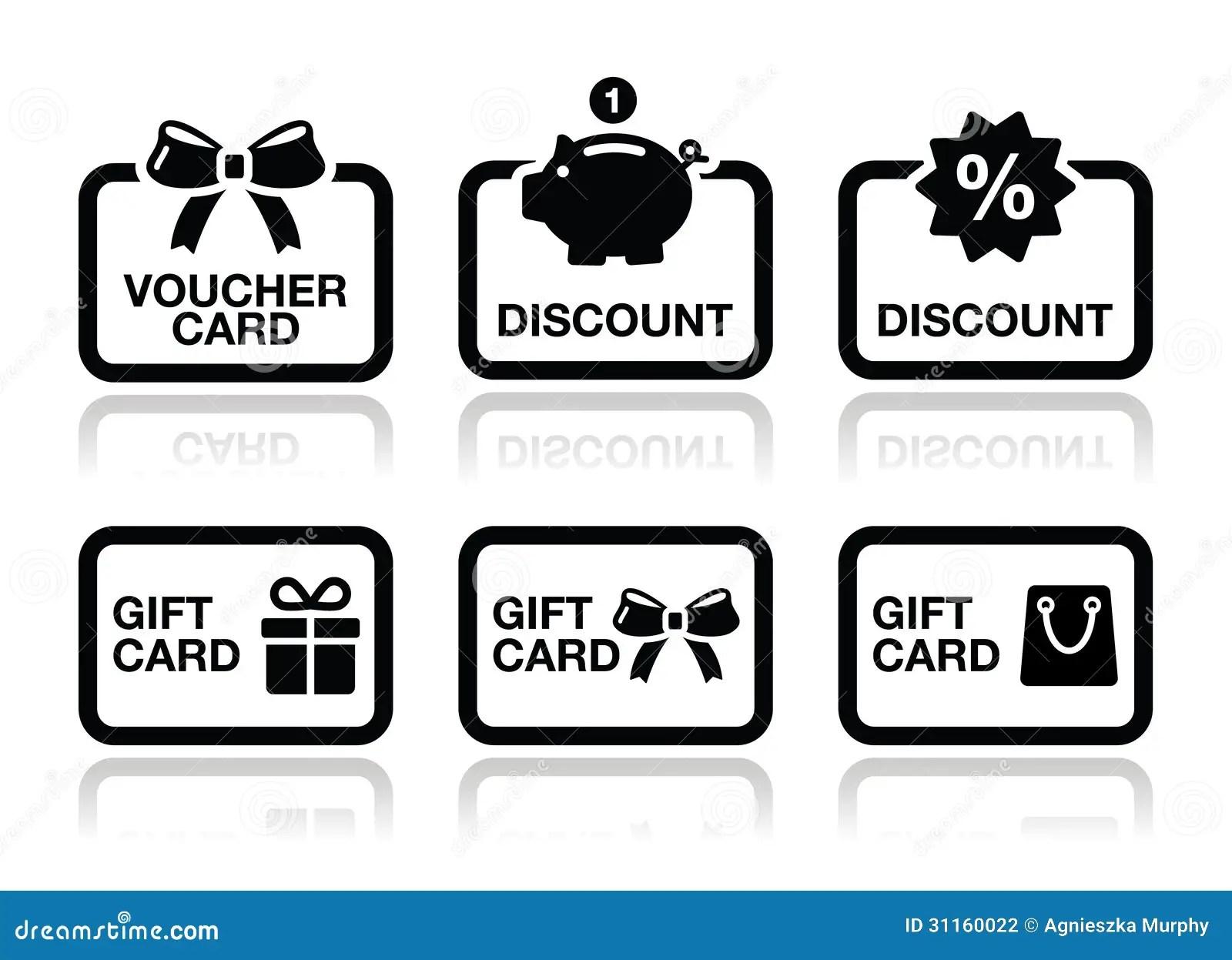 Voucher T Discount Card Vector Icons Set Stock Vector