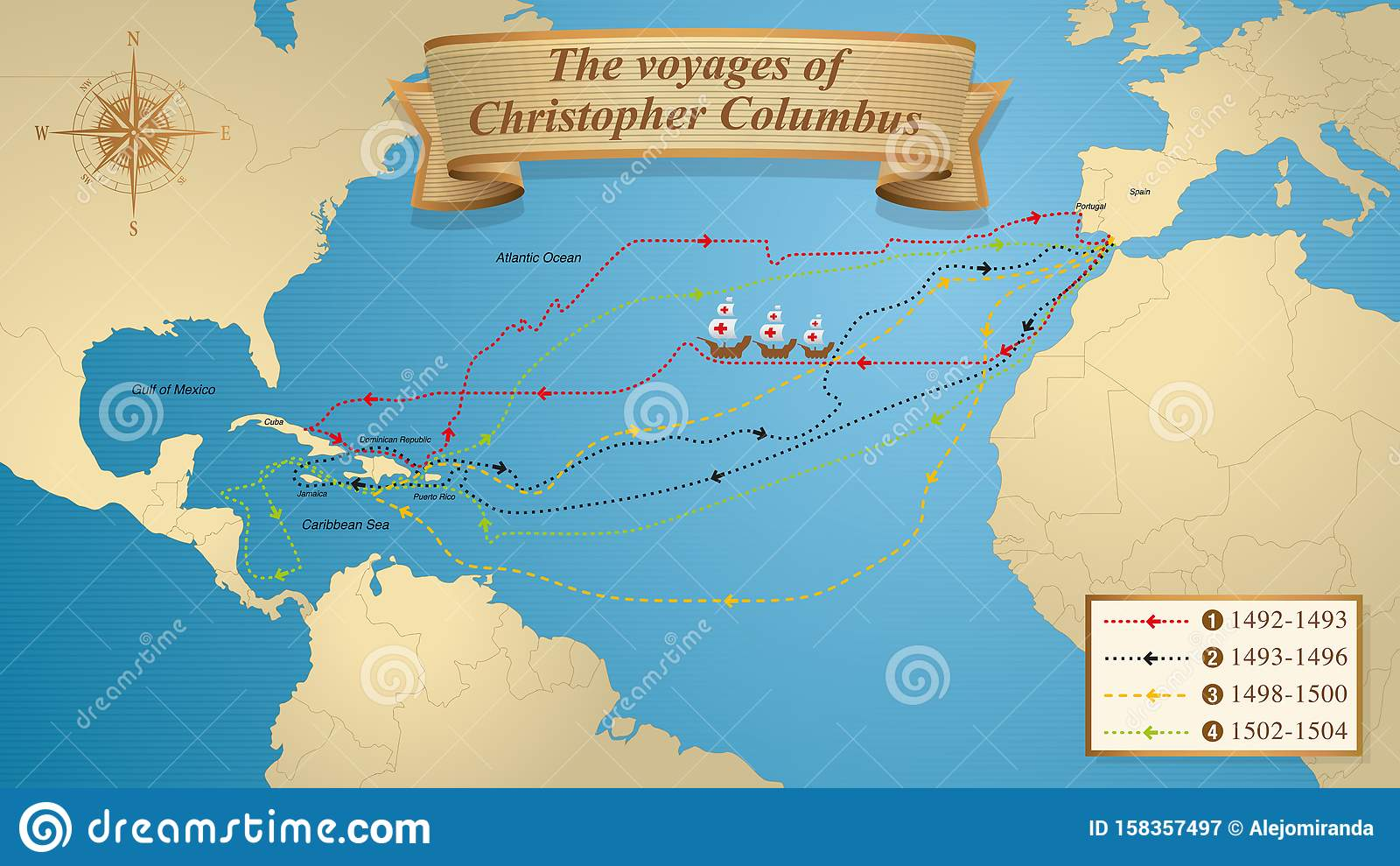 Christopher Columbus Map Stock Illustrations 183