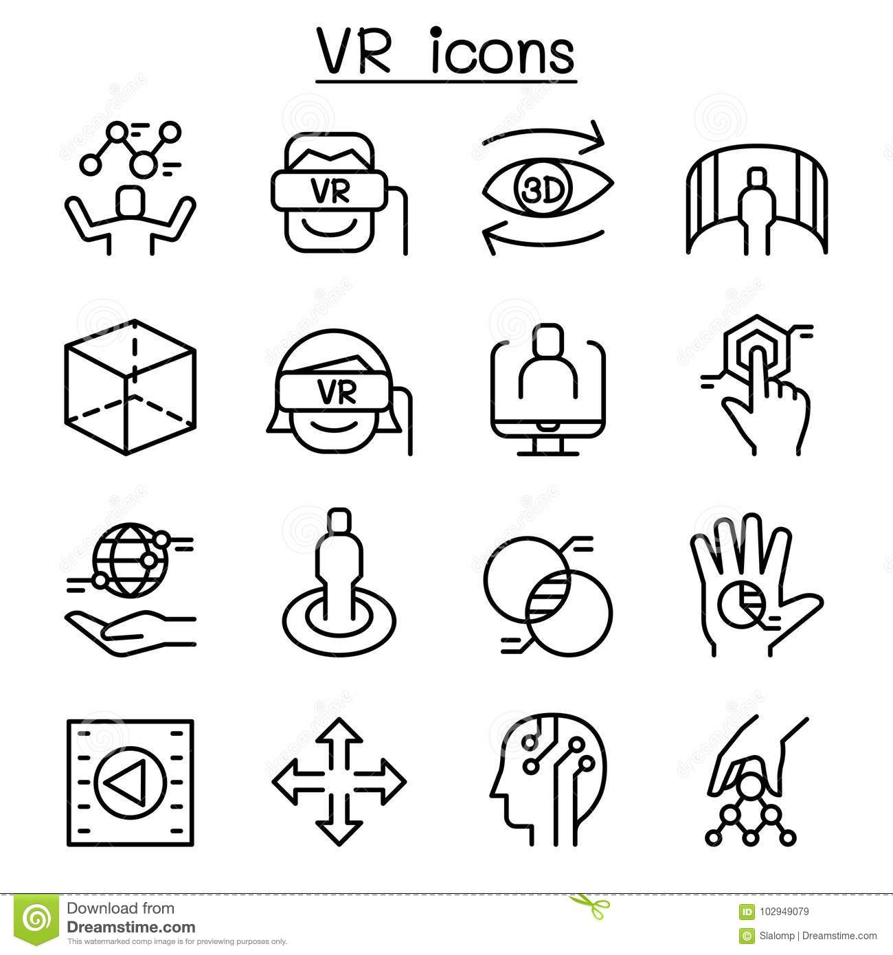 Vr Virtual Technology Icon Set In Thin Line Style Stock