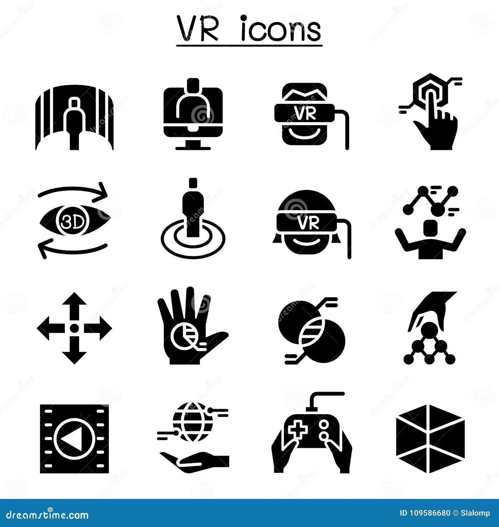 Vr Virtual Technology Icon Set Stock Vector