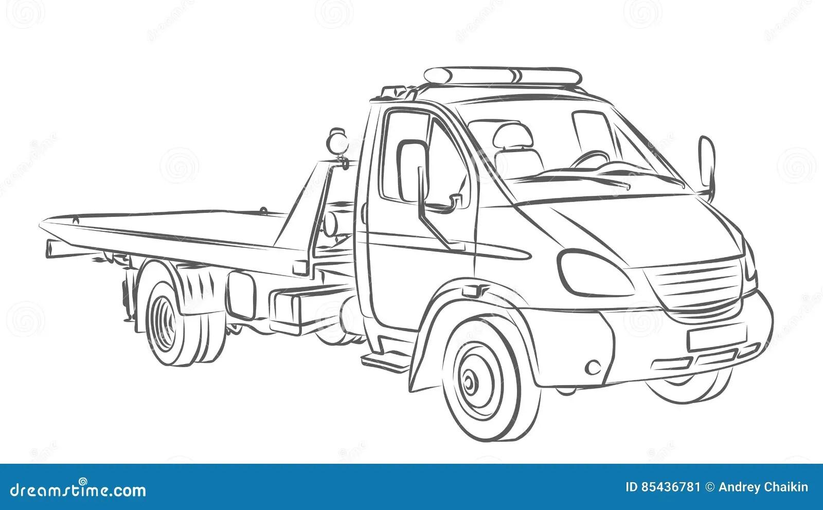 Vrachtwagen Van Het Schets De Grote Slepen Vector
