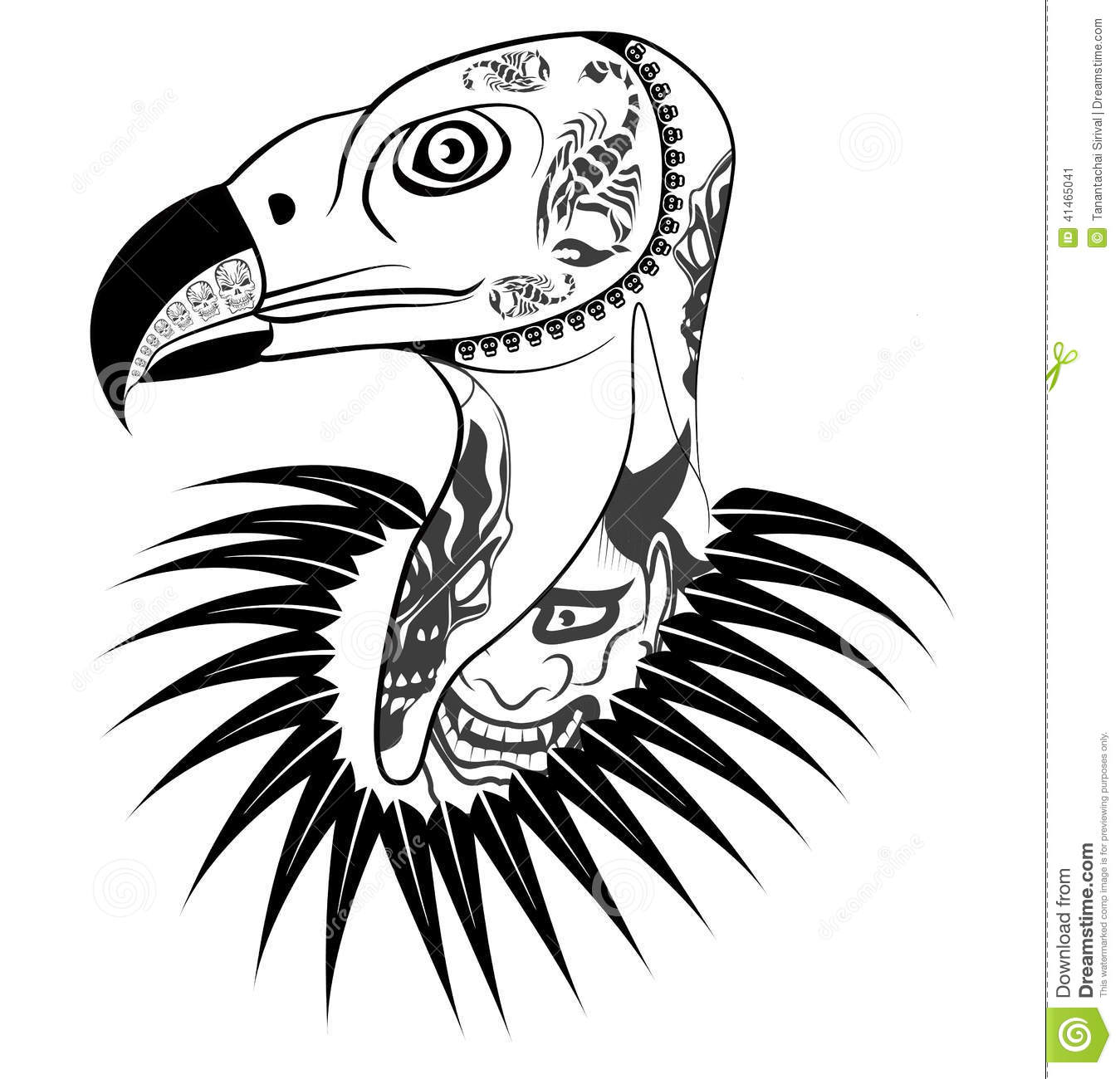 Vulture Head With Tattoo Stock Vector