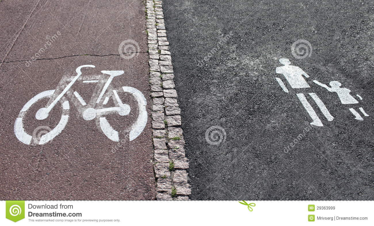 Walk And Bike Path Sign Royalty Free Stock Images