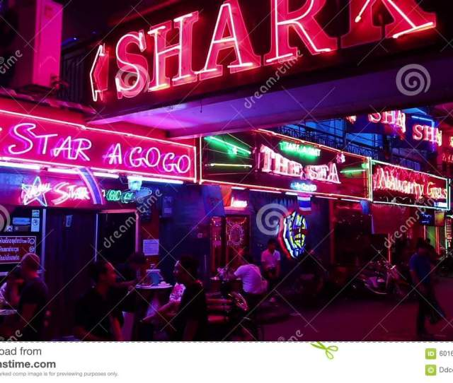 Walking Street Red Light District In Pattaya Thailand Building Immoral