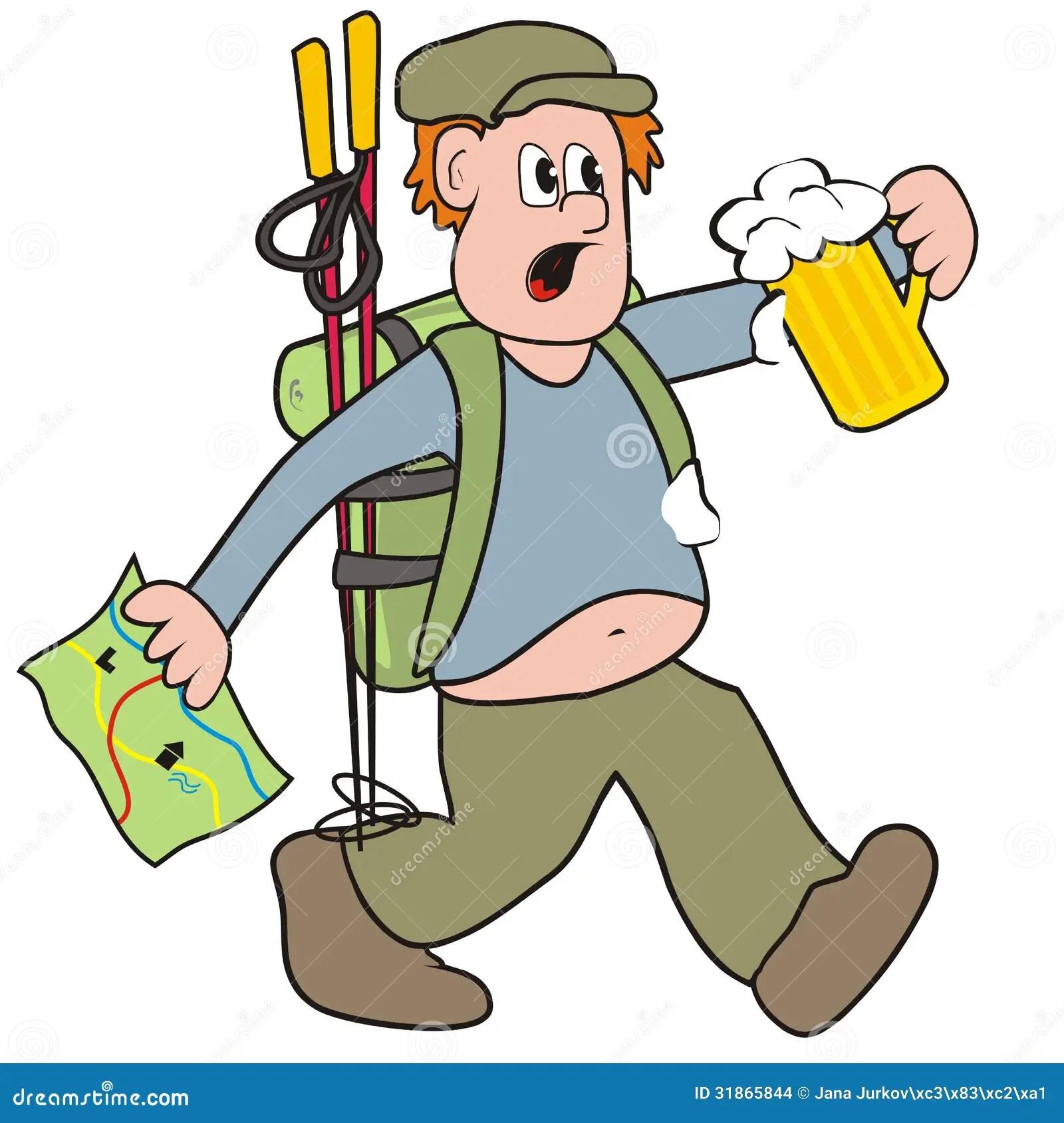 Wanderer Und Bier Vektor Abbildung Illustration Von