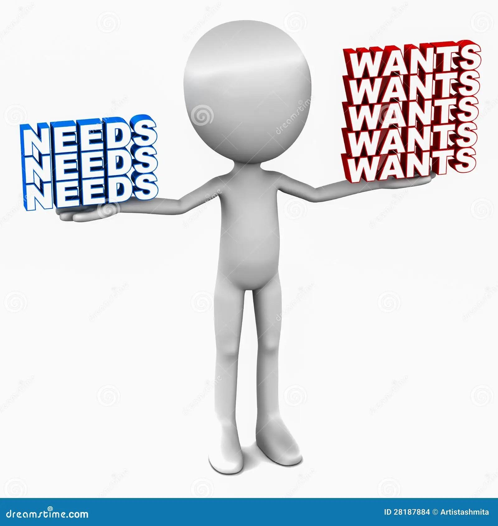 Wants Versus Needs Stock Illustration Illustration Of