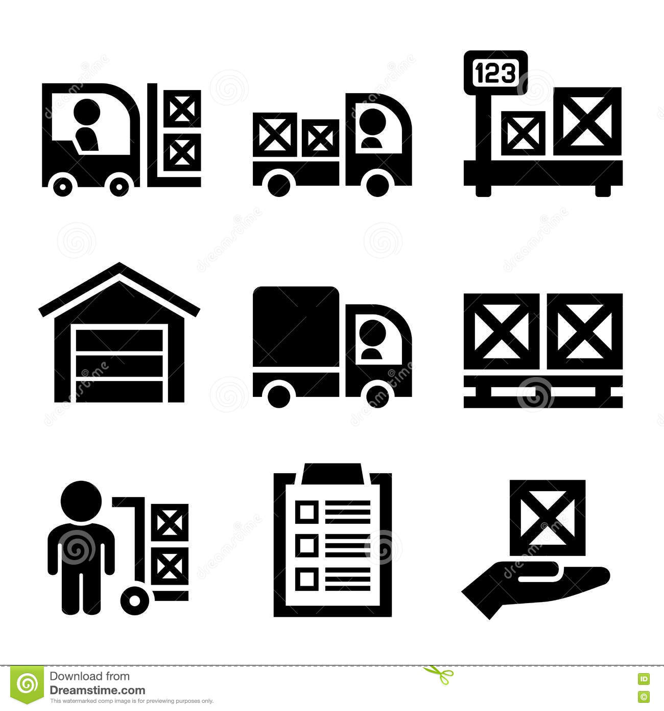 Warehouse Storage And Logistic Icons Set Vector Stock