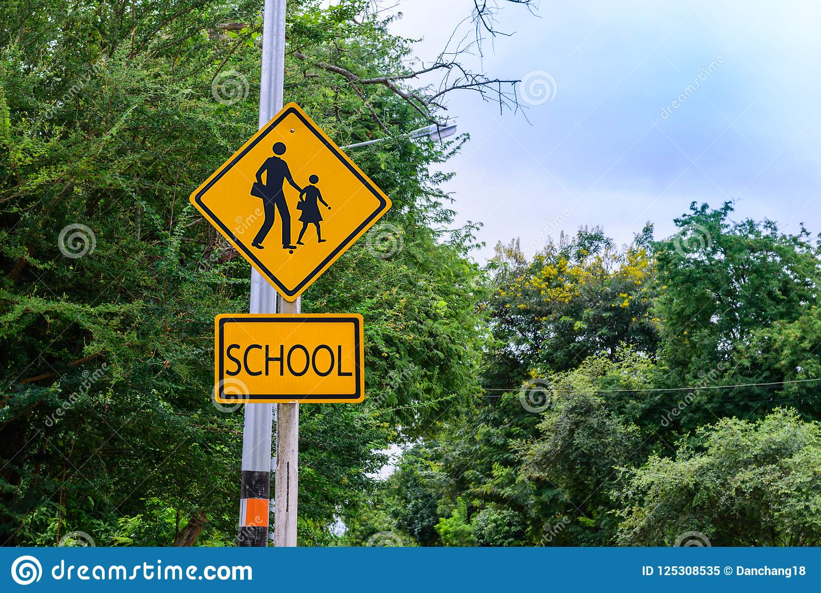 Warning Sign For Students School Crossing The Street Stock