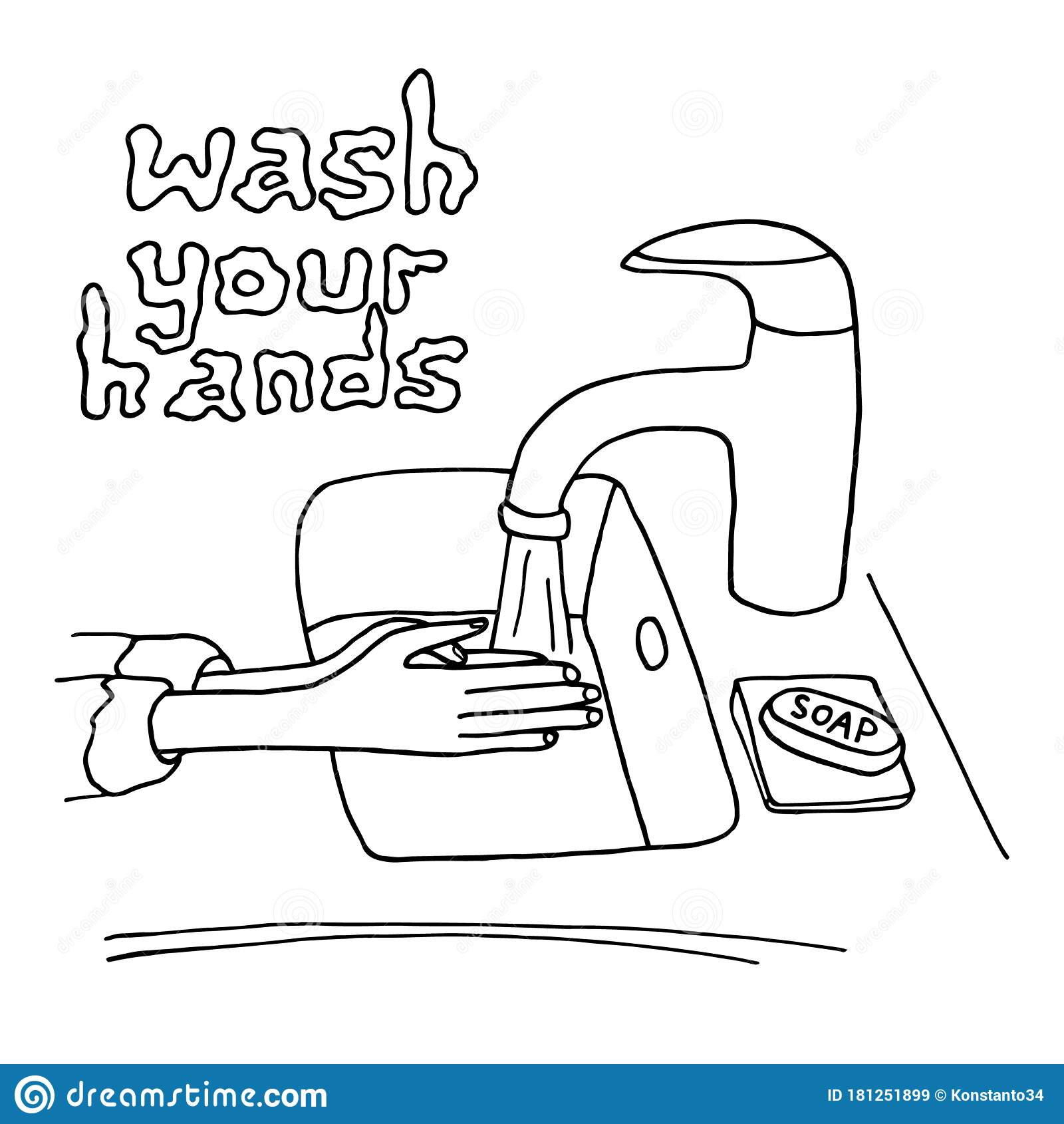 Washing Hands With Soap Vector Illustration Outline Hands