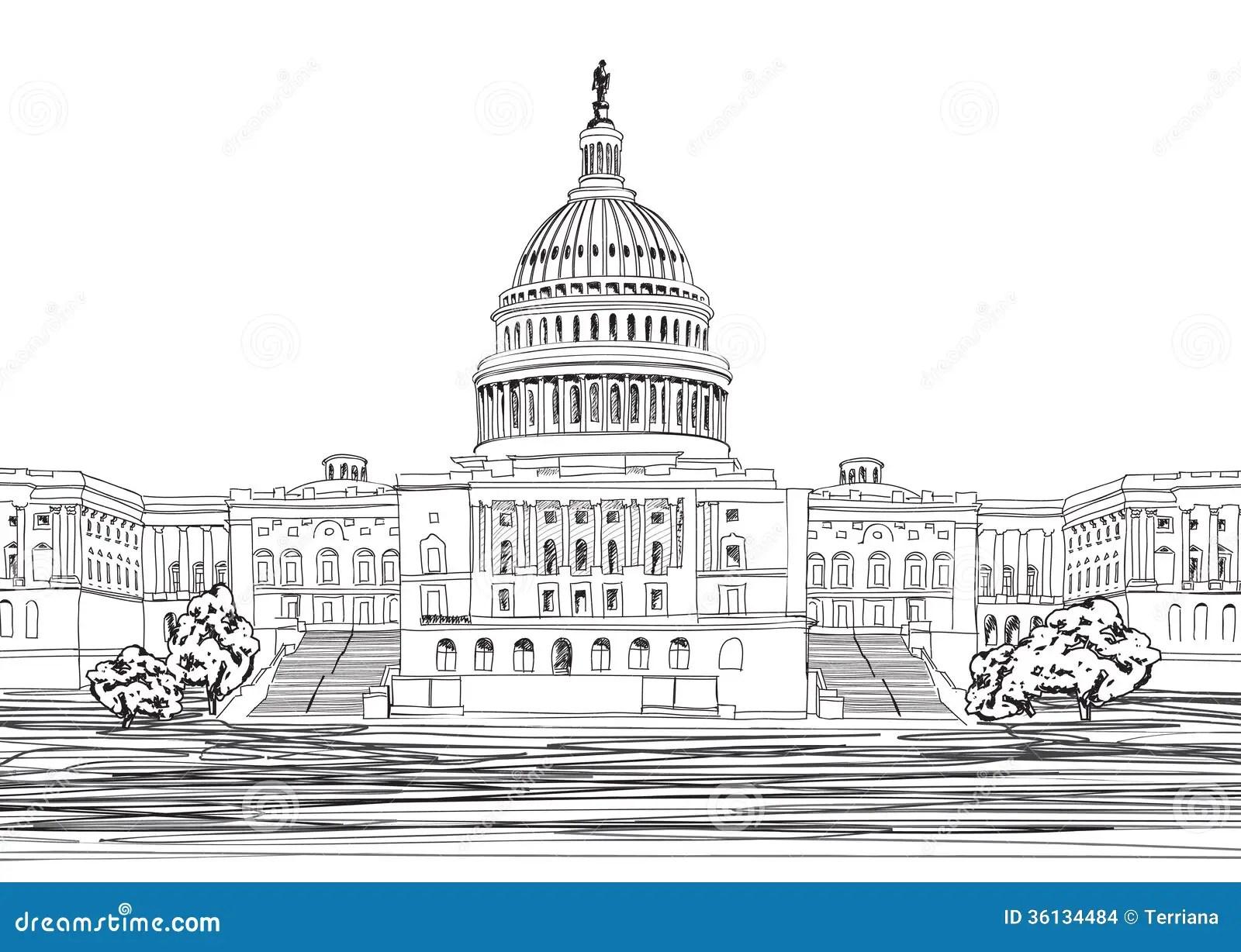 Washington Dc Capitol With Garden Landscape Usa Stock
